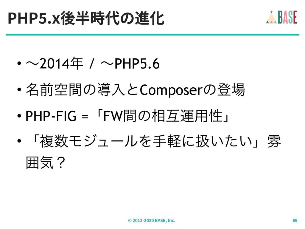 PHP .x後半時代の進化 © - BASE, Inc. • ʙ2014 / ʙPHP5.6...