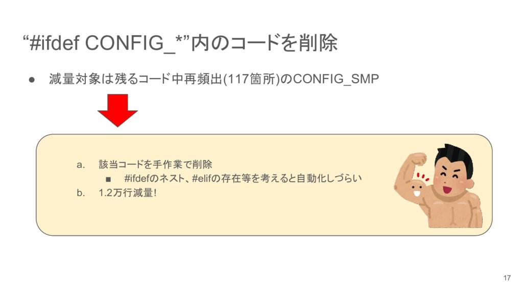 """""""#ifdef CONFIG_*""""内のコードを削除 ● 減量対象は残るコード中再頻出(117箇..."""