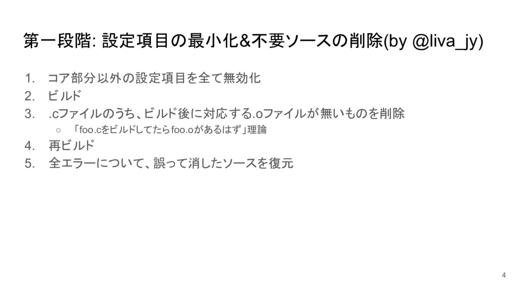 第一段階: 設定項目の最小化&不要ソースの削除(by @liva_jy) 1. コア部分以外の...