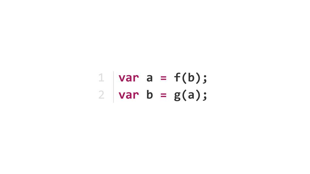 var a = f(b); var b = g(a); ...