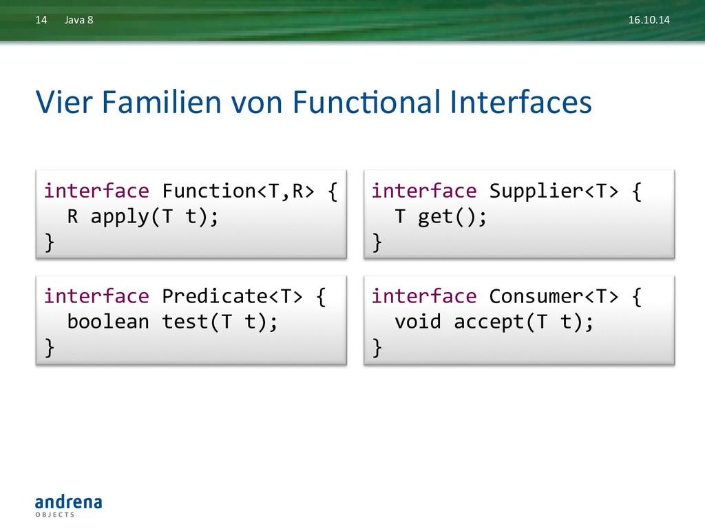 Vier Familien von FuncDonal Interfa...