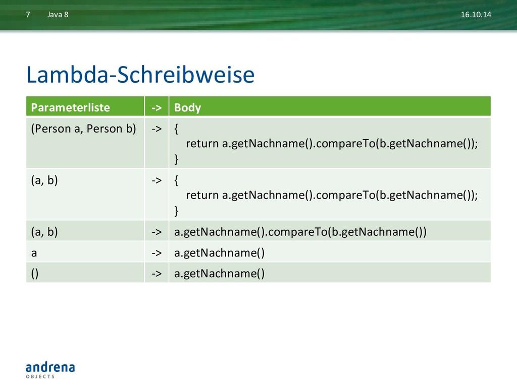 Lambda-‐Schreibweise  16.10.14  Java ...
