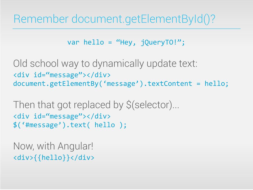 Remember document.getElementById()? var hell...