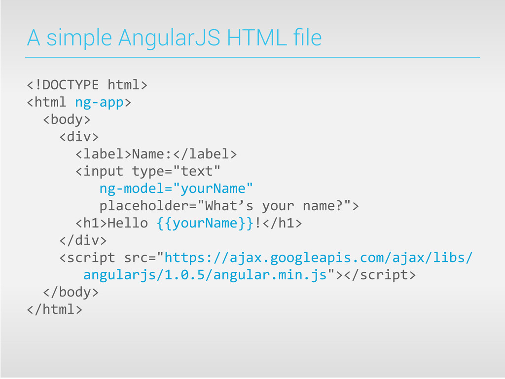 A simple AngularJS HTML file <!DOCTYPE html> ...