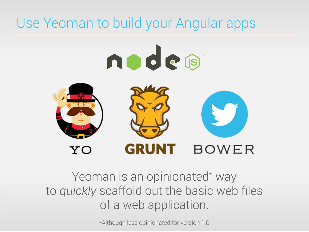 Use Yeoman to build your Angular apps Yeoman is...