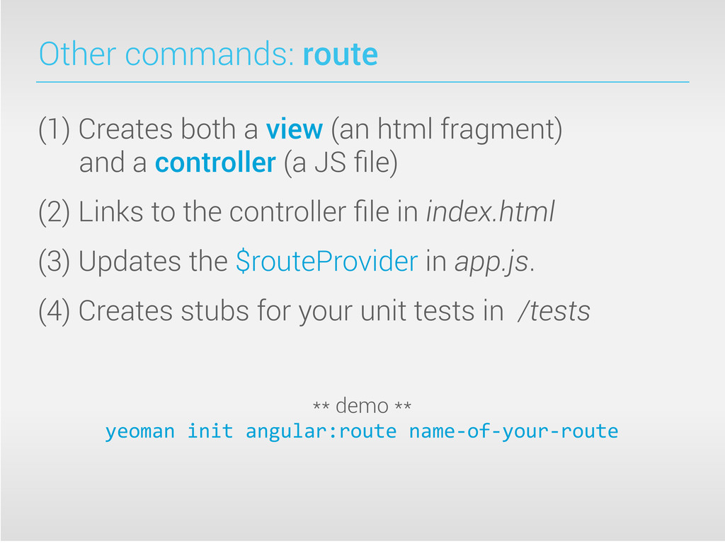 Other commands: route (1) Creates both a view (...