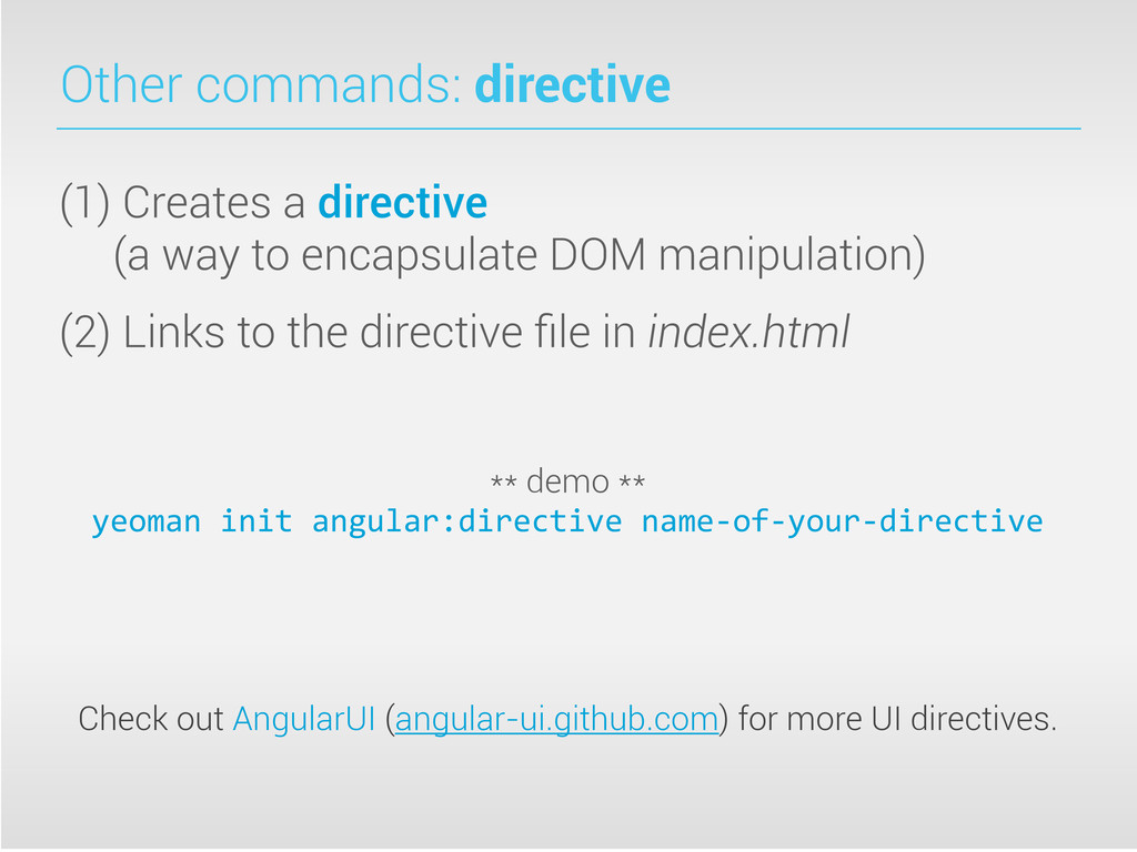 Other commands: directive (1) Creates a directi...