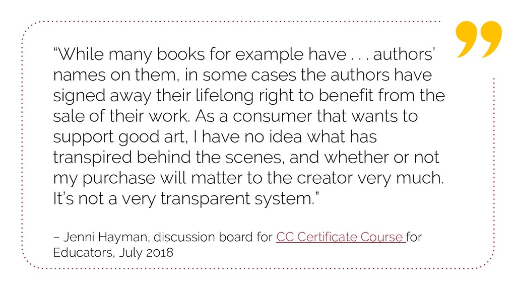 """""""While many books for example have . . . author..."""