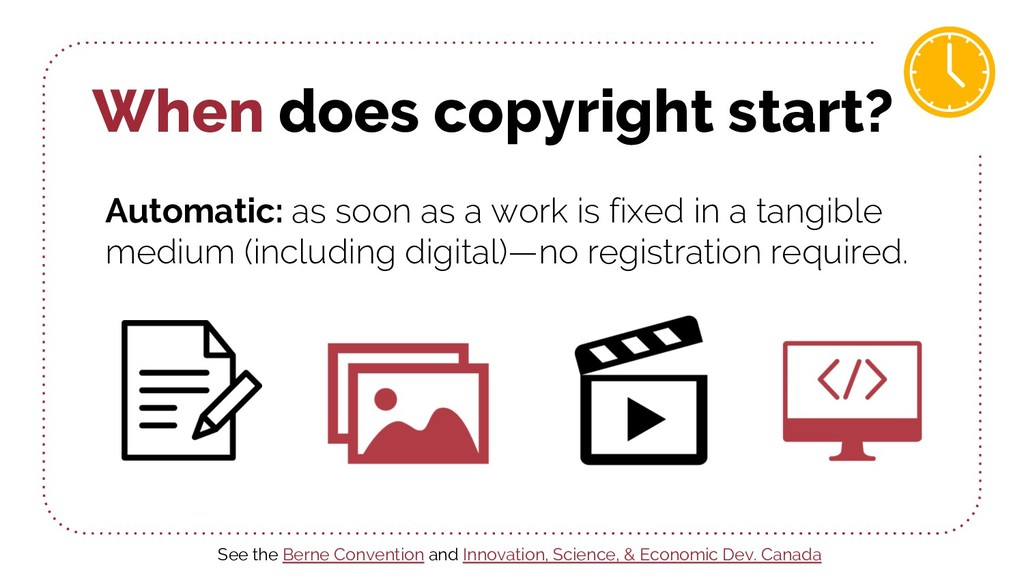 When does copyright start? Automatic: as soon a...