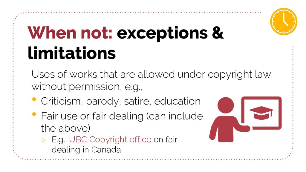 When not: exceptions & limitations Uses of work...