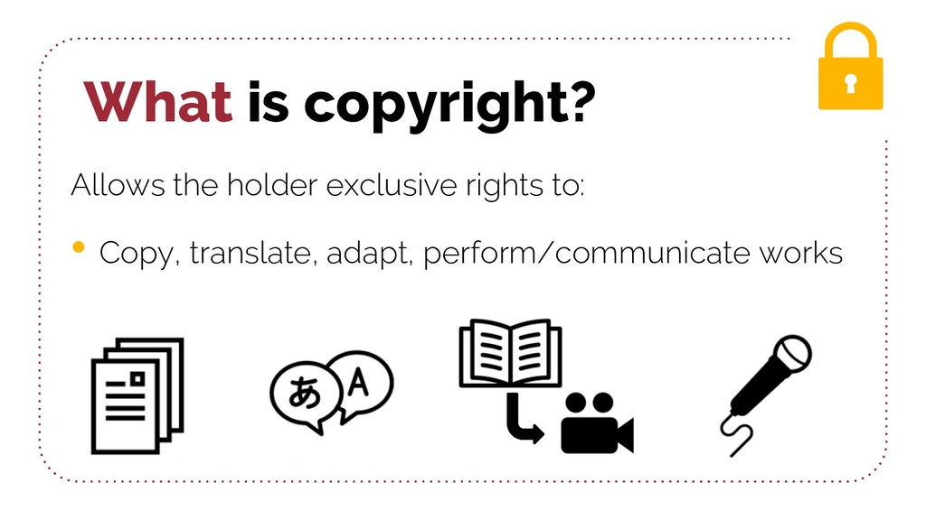 What is copyright? Allows the holder exclusive ...