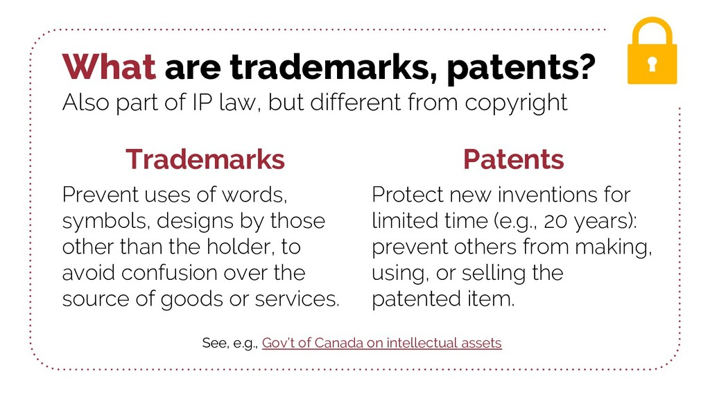 What are trademarks, patents? Also part of IP l...