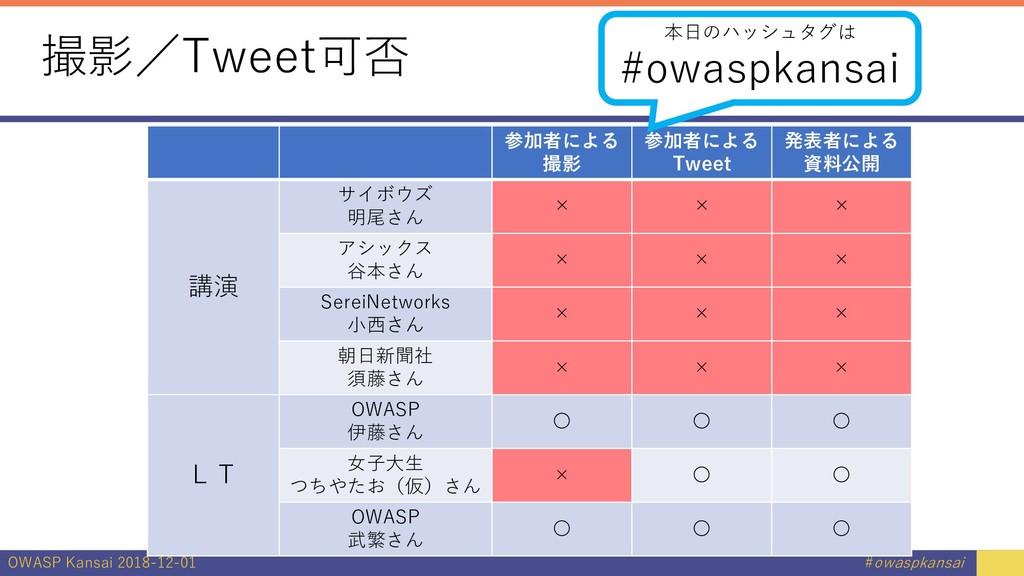 OWASP Kansai 2018-12-01 #owaspkansai 撮影/Tweet可否...