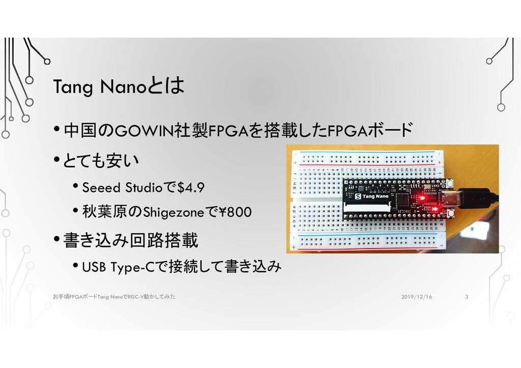Tang Nanoとは •中国のGOWIN社製FPGAを搭載したFPGAボード •とても安い ...