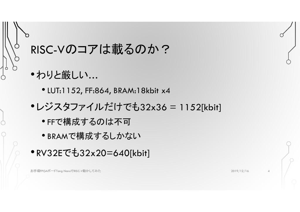 RISC-Vのコアは載るのか? •わりと厳しい… • LUT:1152, FF:864, BR...