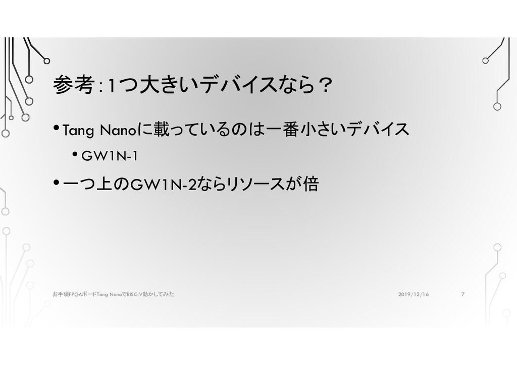 参考:1つ大きいデバイスなら? •Tang Nanoに載っているのは一番小さいデバイス • G...