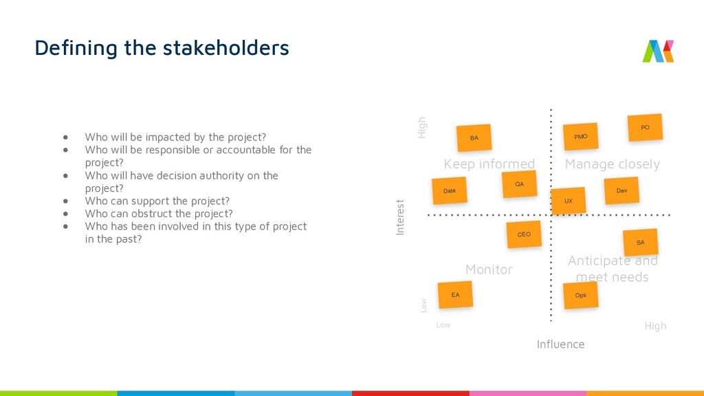 Defining the stakeholders ● Who will be impacte...