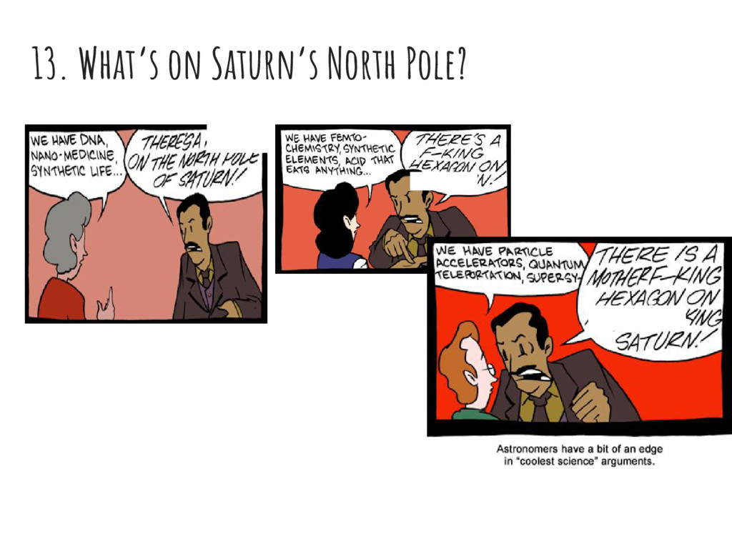 13. What's on Saturn's North Pole?