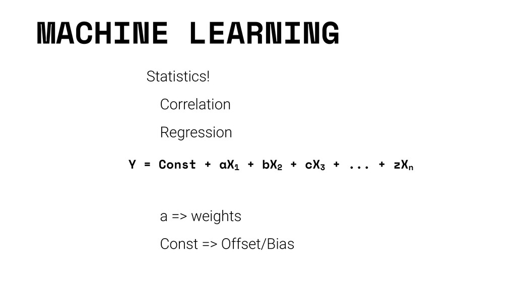 MACHINE LEARNING Statistics! Correlation Regres...