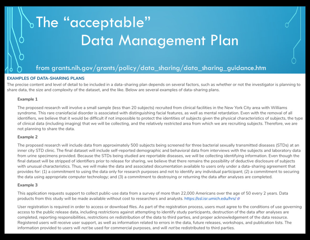 "The ""acceptable"" Data Management Plan from gran..."