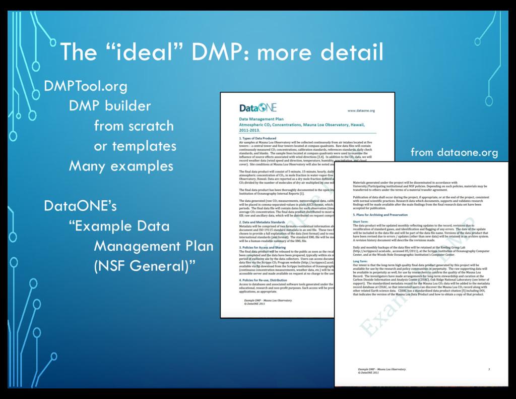 "The ""ideal"" DMP: more detail DMPTool.org DMP bu..."