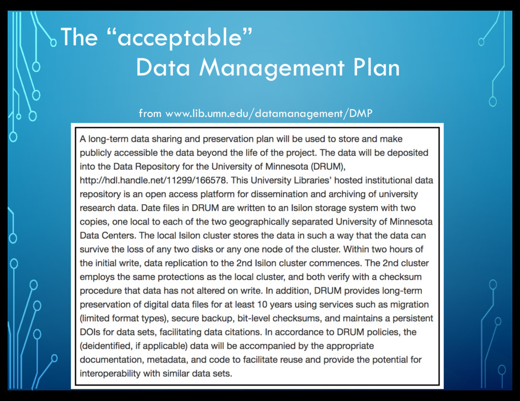 "The ""acceptable"" Data Management Plan from www...."