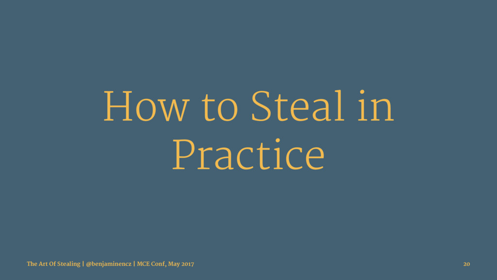 How to Steal in Practice The Art Of Stealing | ...