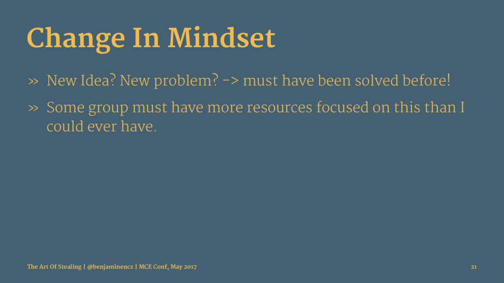 Change In Mindset » New Idea? New problem? -> m...