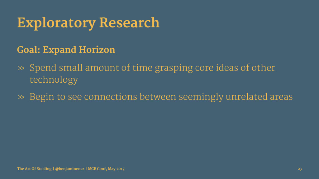 Exploratory Research Goal: Expand Horizon » Spe...