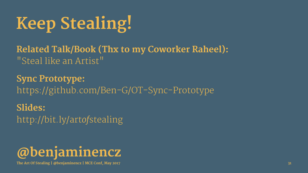 Keep Stealing! Related Talk/Book (Thx to my Cow...