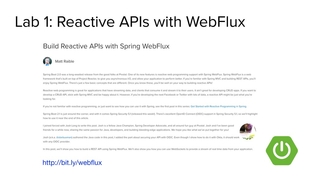 Lab 1: Reactive APIs with WebFlux http://bit.ly...