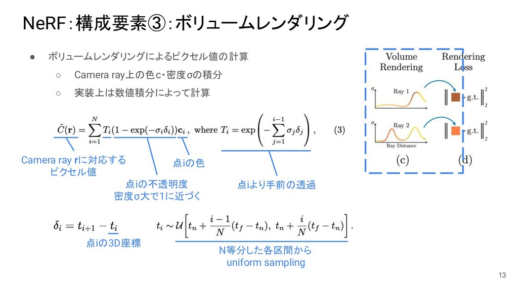 NeRF:構成要素③:ボリュームレンダリング ● ボリュームレンダリングによるピクセル値の計算...