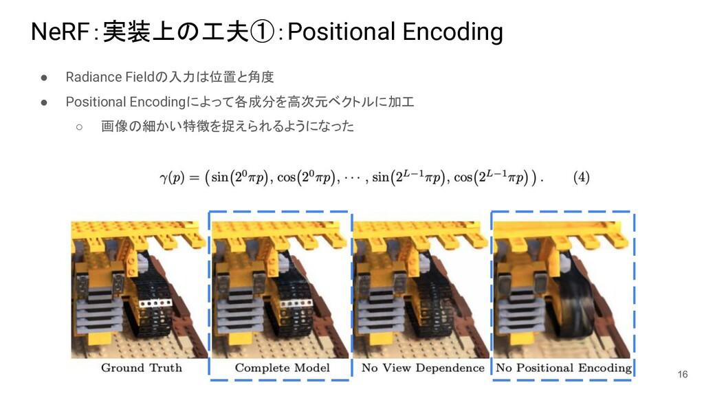 NeRF:実装上の工夫①:Positional Encoding ● Radiance Fie...