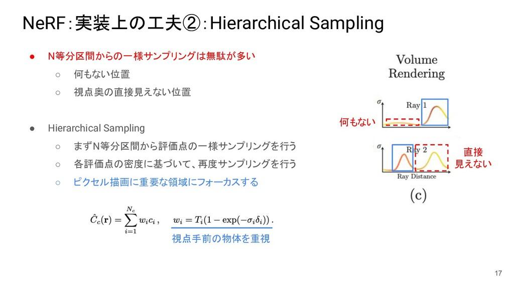 NeRF:実装上の工夫②:Hierarchical Sampling ● N等分区間からの一様...