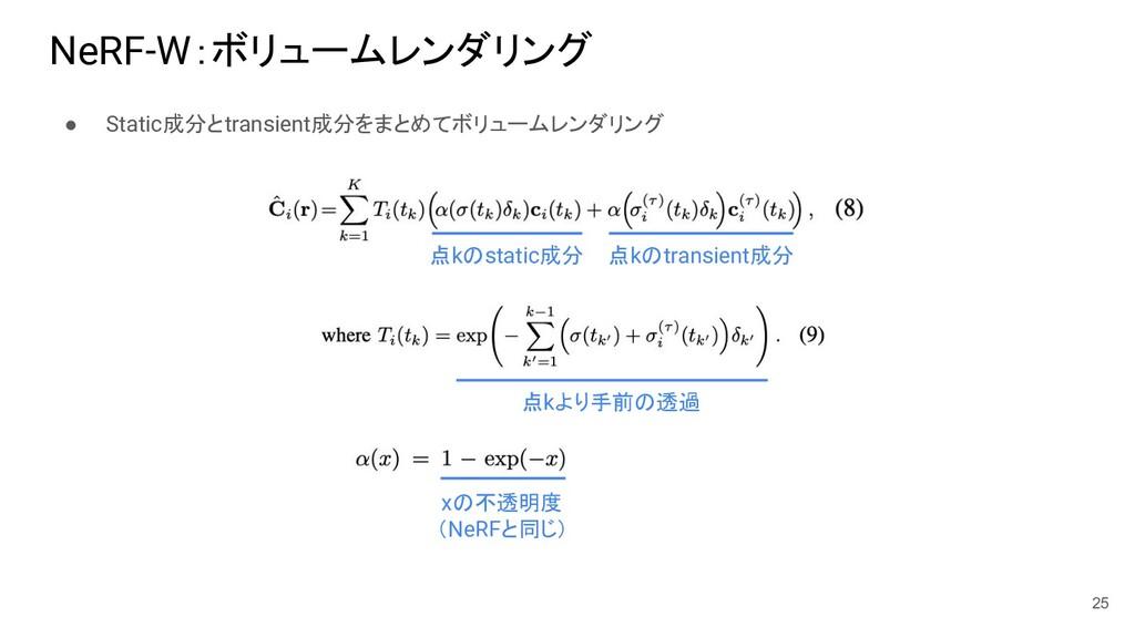 NeRF-W:ボリュームレンダリング ● Static成分とtransient成分をまとめてボ...