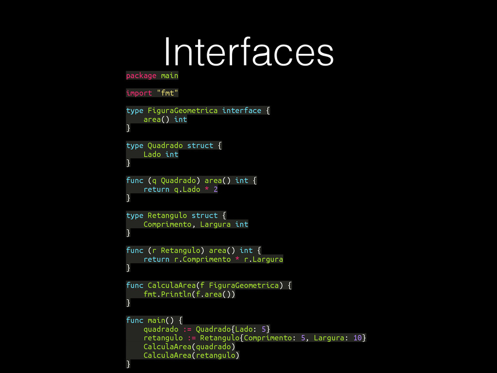 """Interfaces package main import """"fmt"""" type Figur..."""