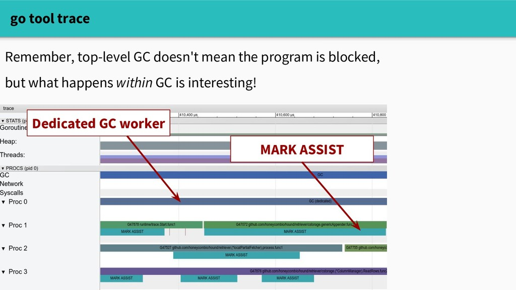 go tool trace Remember, top-level GC doesn't me...