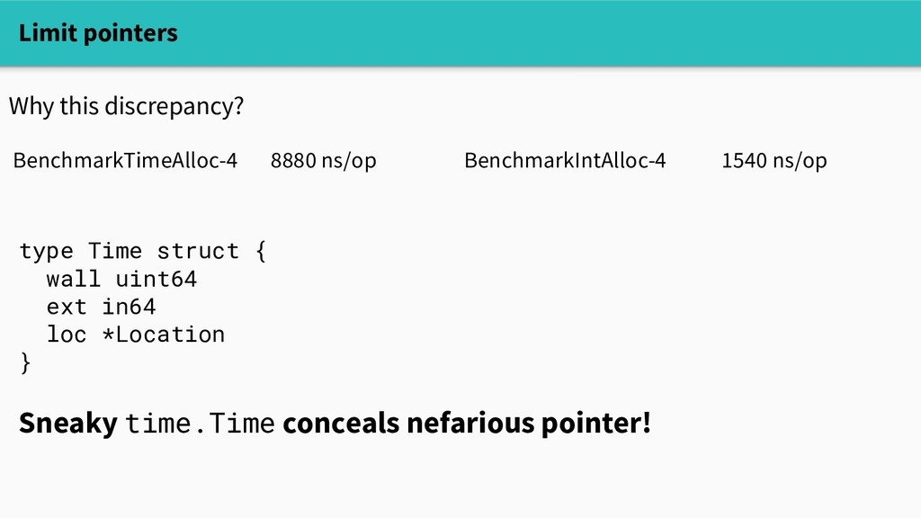 Limit pointers Why this discrepancy? BenchmarkT...