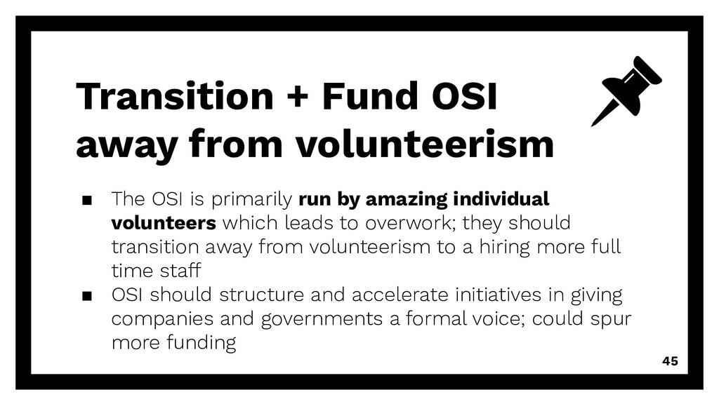 Transition + Fund OSI away from volunteerism ▪ ...