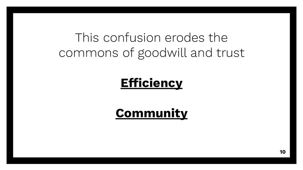 10 This confusion erodes the commons of goodwil...