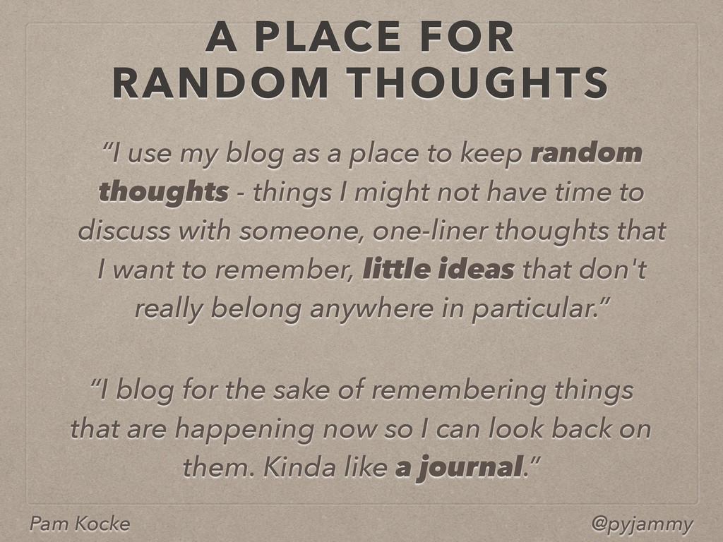 """Pam Kocke @pyjammy """"I use my blog as a place to..."""