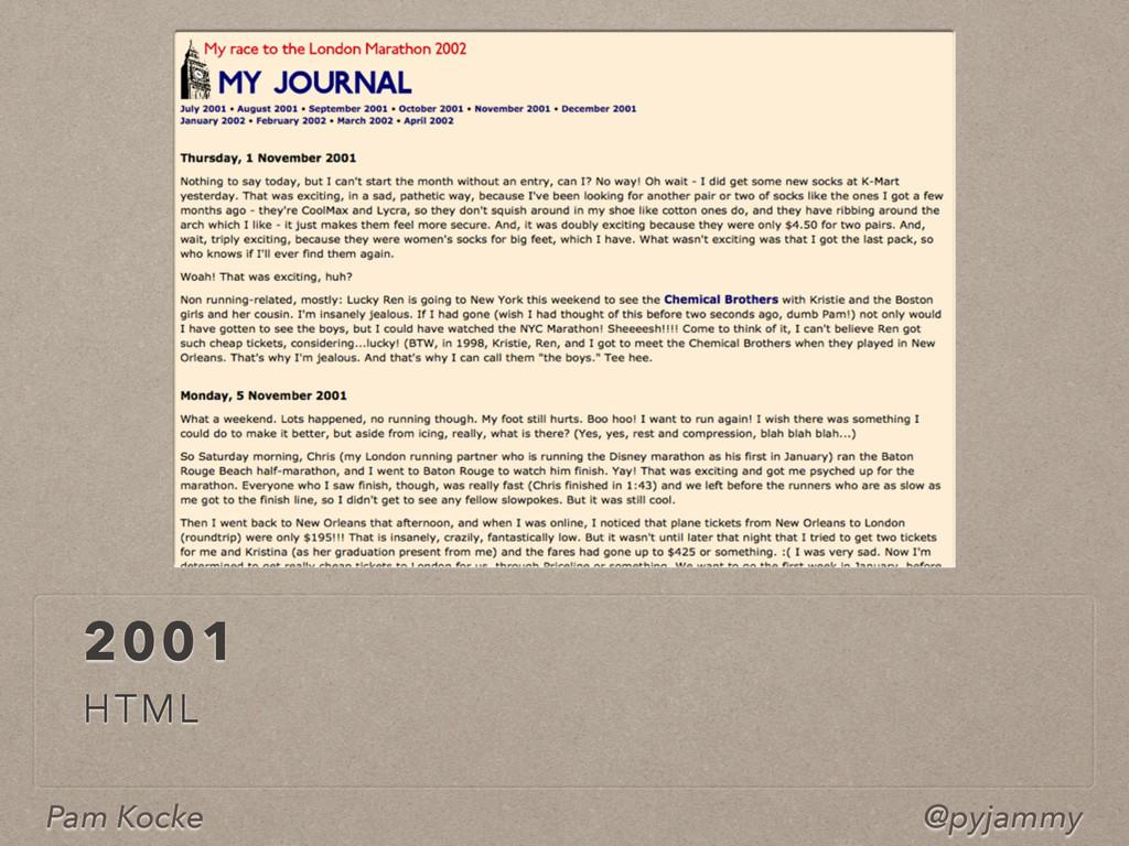 Pam Kocke @pyjammy 2001 HTML