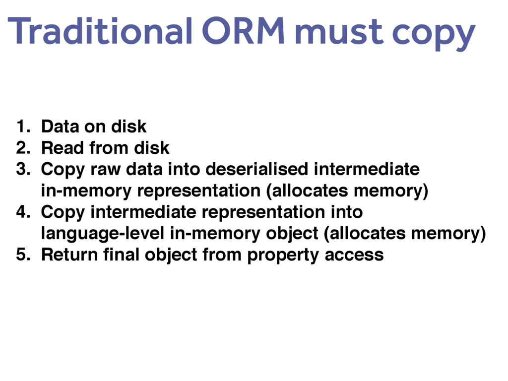 Traditional ORM must copy 1. Data on disk 2. Re...