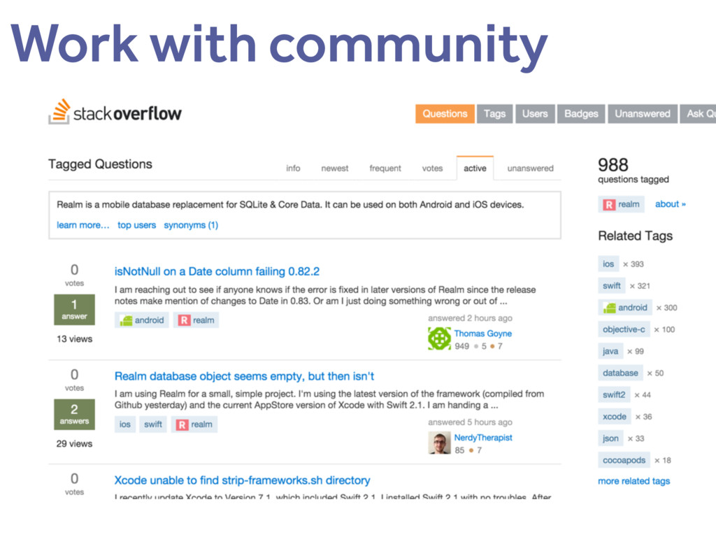 Work with community