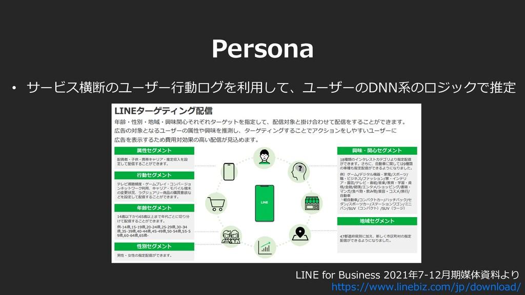 • サービス横断のユーザー行動ログを利用して、ユーザーのDNN系のロジックで推定 LINE f...