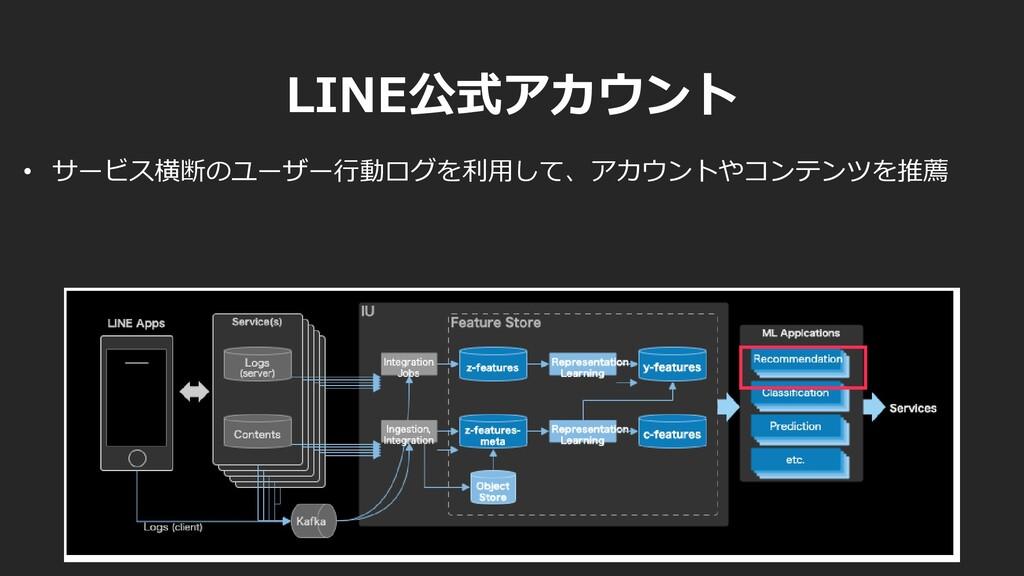 • サービス横断のユーザー行動ログを利用して、アカウントやコンテンツを推薦 LINE公式アカウ...
