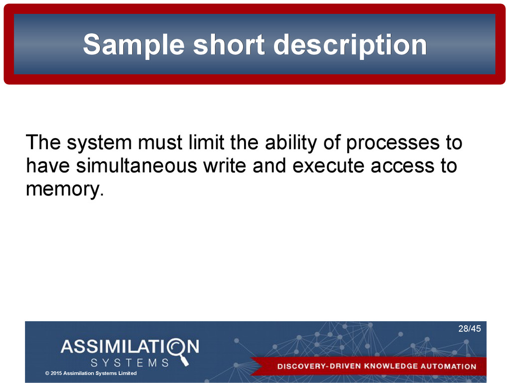 © 2015 Assimilation Systems Limited 28/45 Sampl...