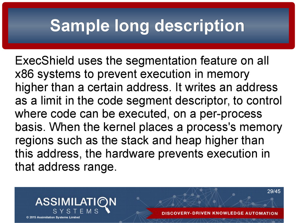 © 2015 Assimilation Systems Limited 29/45 Sampl...