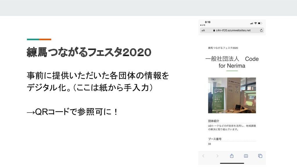 練馬つながるフェスタ2020 事前に提供いただいた各団体の情報を デジタル化。(ここは紙から手...