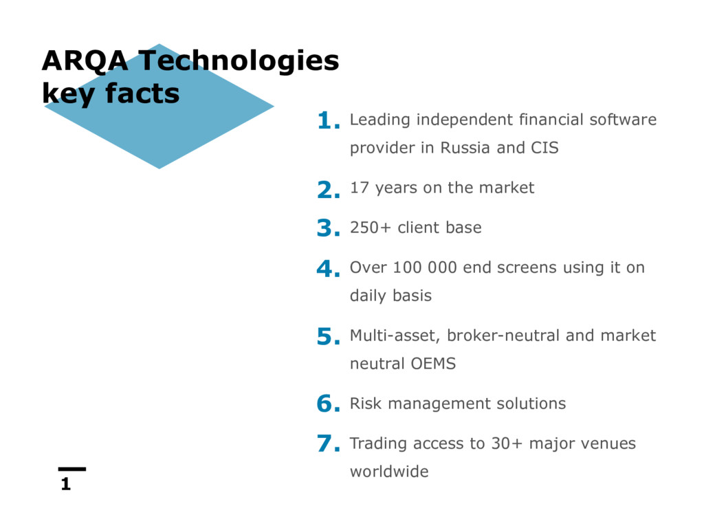 1 ARQA Technologies key facts Leading independe...
